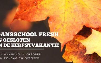 Gesloten in de herfstvakantie + nieuw Kalender Fresh